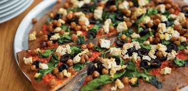 Barbecued Pizza with Roasted Pepper Sauce and Spiced Chickpeas