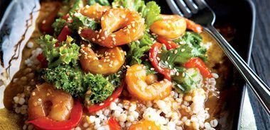 Mustard Green Shrimp Stir-Fry