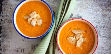 Honeyed Carrot Soup with Smoked Trout