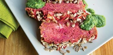Beet Chickpea Loaf with Arugula Sauce