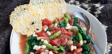 Three Bean, Spinach, and Kale Stew with Lacy Parmesan Cracker