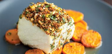 Almond Crusted Halibut and Sweet Potatoes with Miso Maple Syrup Glaze