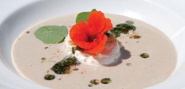 Wild Chanterelle Mushroom, Walnut and Summer Savoury Soup with Nasturtium Flower Cream