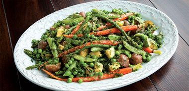 Springtime Vegetable Medley with Miso Butter and Spring Herbs