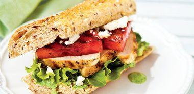Grilled Chicken and Watermelon Sandwich