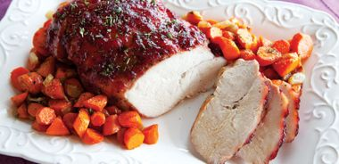 Cranberry Glazed Turkey Breast with Roasted Carrots