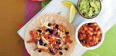 Mile-High Mission-Style Chicken Burrito / Salsa Fresca / Guacamole