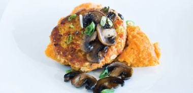 Curry Salmon Patties with Sautéed Mushrooms and Spiced Sweet Potatoes