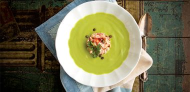 Creamy Cool Avocado Wasabi Soup with Crab Timbales