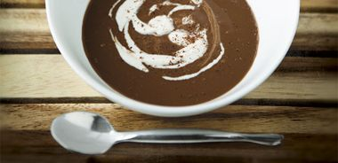 Chili Chocolate Soup with Coconut Whipped Cream