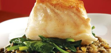 Roasted Halibut on Lentils with Braised Spring Greens
