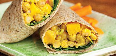 Curried Chickpea Mango Salad Wrap