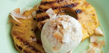Grilled Pineapple Slices with Coconut Ice Cream