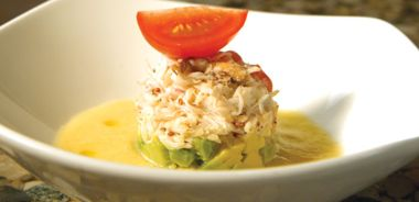 Chilled Heirloom Tomato Soup with Dungeness Crab and Avocado