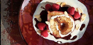 """Spiced Pears with Coffee """"Cream"""""""
