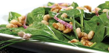 Baby Spinach and Navy Bean Salad with Classic Balsamic Dressing