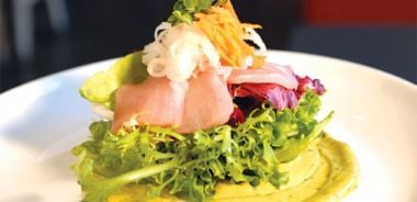 Smoked Albacore Tuna with Organic Winter Salad Greens and Wasabi Aioli