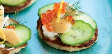 Rye Blini with Smoked Trout