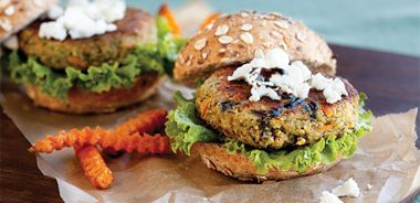 Seedy Bean Burgers with Goat Cheese and Balsamic Reduction
