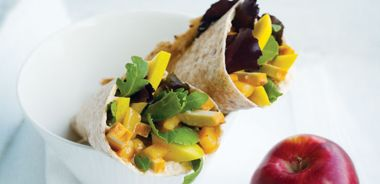 Smoked Tofu and Fruit Wraps with Chipotle Cream
