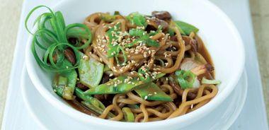 Sesame Lime Soba Noodles with Shiitake Mushrooms and Snow Peas