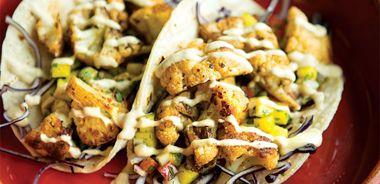Cauliflower Tacos with Mango Salsa and Smoky Avocado Sauce