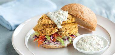 Oyster Po' Boy Sandwich with Zesty Yogurt Sauce