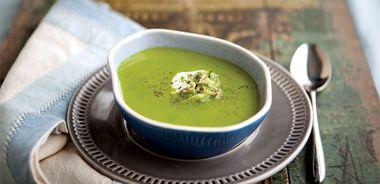 Creamy Minted Pea Soup with Crème Fraîche