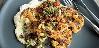 Cauliflower Steaks with Tomato Herb Relish