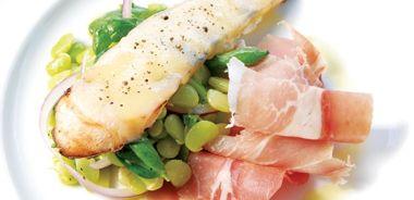 Fava Bean Salad with Prosciutto and Warm Mozzarella Crostini