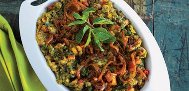 Persian Eggplant and Herb Salad with Caramelized Onions