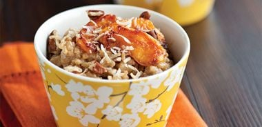 Coconut Rice Pudding with Caramelized Peaches