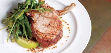 Grilled Pork Chop with Arugula-Apple Salad
