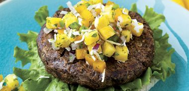Black Lentil Burgers with Pineapple Salsa