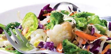 Steamed Brassicas with Mustard, Capers, and Carrot