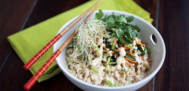 Dragon Boat Rice Bowl with Miso Tofu Dressing