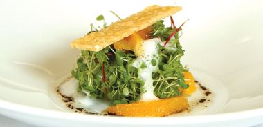 Baby Greens with Anise-Poached Oranges, Vanilla Balsamic Vinaigrette, and Champagne Froth