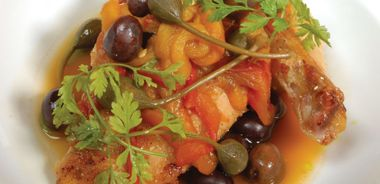 Roast Chicken with Tomatoes, Roasted Peppers, Olives, and Capers