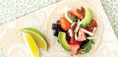 Salmon Tacos with Roasted Tomato and Black Bean Salsa