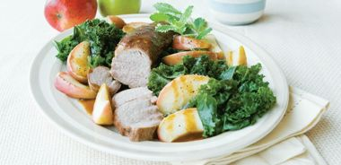 Pork Medallions with Apples and Kale