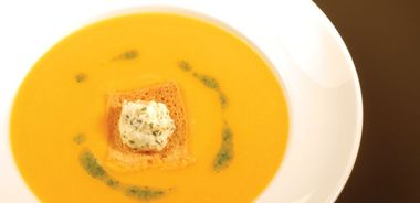 Butternut Squash Soup with Roasted Garlic and Goat Feta Crostini
