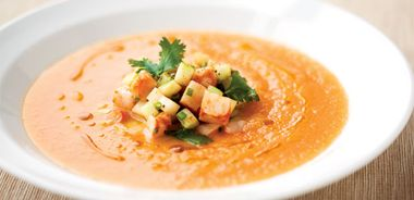 Melon and Yogurt Soup with Curried Shrimp