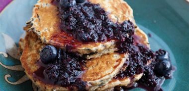 Wild Rice Oat Pancakes with Blueberry Sauce