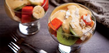Sparkling Zabaglione with Winter Tropical Fruits