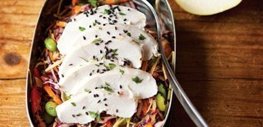 Peanutty Asian Slaw with Creamy Lime Chicken