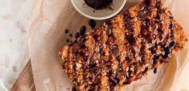 Oat Salmon Loaf with Pomegranate Glaze