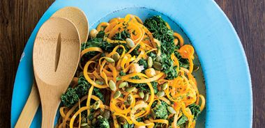Butternut Squash Noodles with Kale, Chickpeas, and Pumpkin Seeds