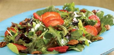 Strawberry Pecan Salad with Sweet Red Wine Vinaigrette