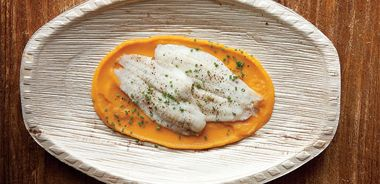 Steamed Sole with Butternut Squash Sauce