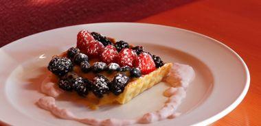 Fresh Berry Tart with Goat's Milk-Lemon Pastry Cream and Polenta Pastry
